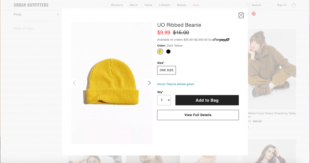 urban outfitters site screenshot