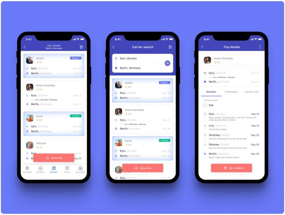 Travel companion search app example